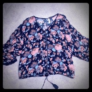 Fall floral blouse casual career sz XL